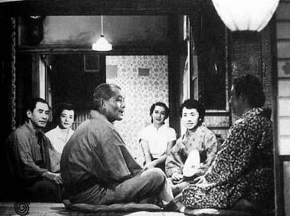 『東京物語』(1953年)左から山村聡、三宅邦子、笠智衆、原節子、杉村、東山千栄子 Wikipediaより