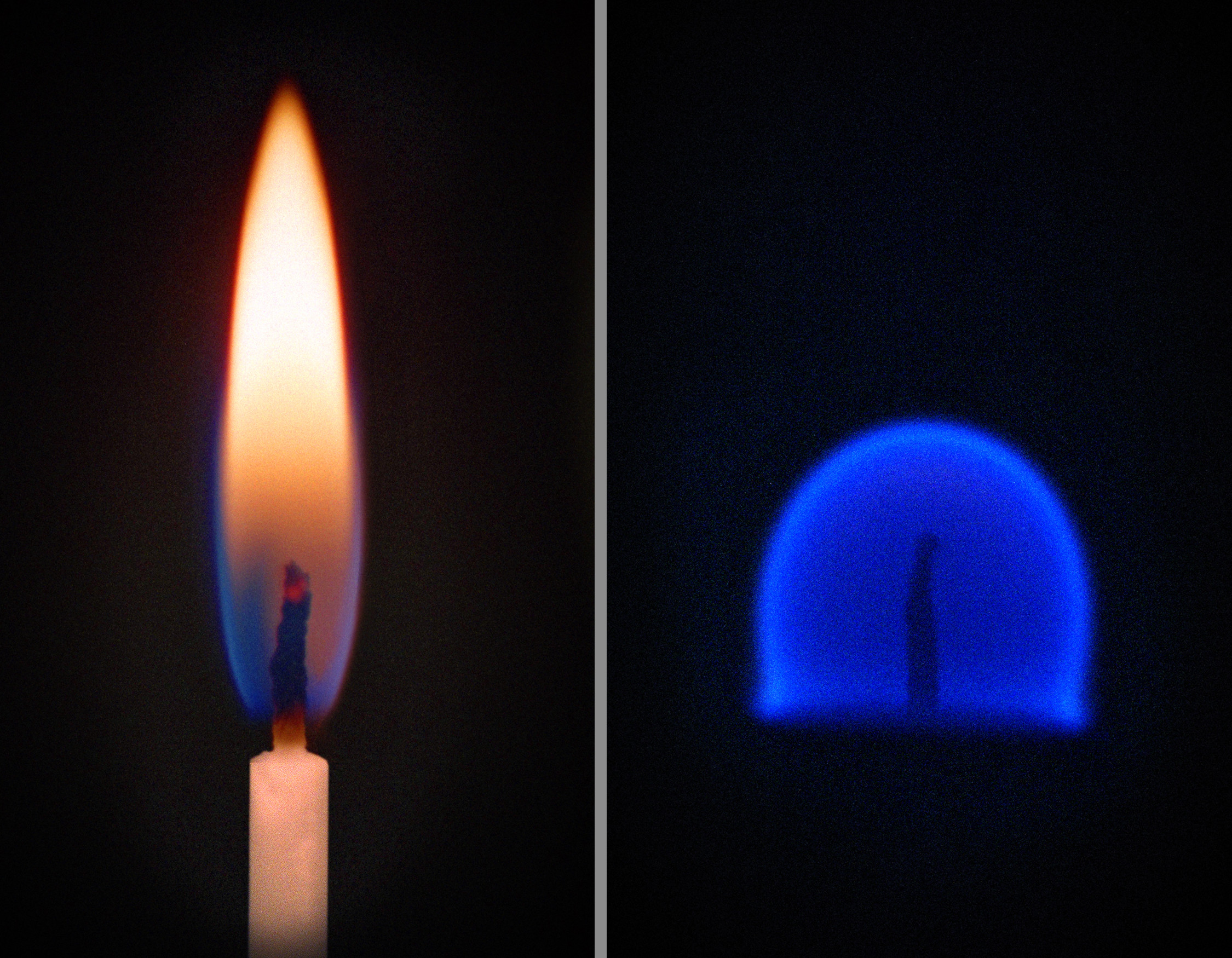 Side by side images of a candle flame (left) and a glowing translucent blue hemisphere of flame (right).