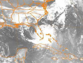 Satellite image of tropical storm making landfall on Florida.