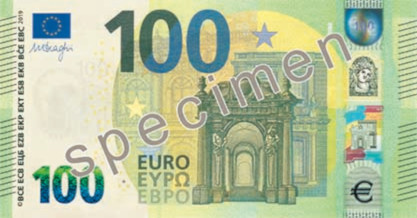 The design for the new Europa series 100 euro note (and for new 50 and 200 notes) features the acronyms of the name of the European Central Bank in ten linguistic variants, covering all official languages of the EU28.