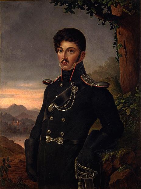 Posthumous portrait in Lützow uniform by his aunt Dora Stock (1814)
