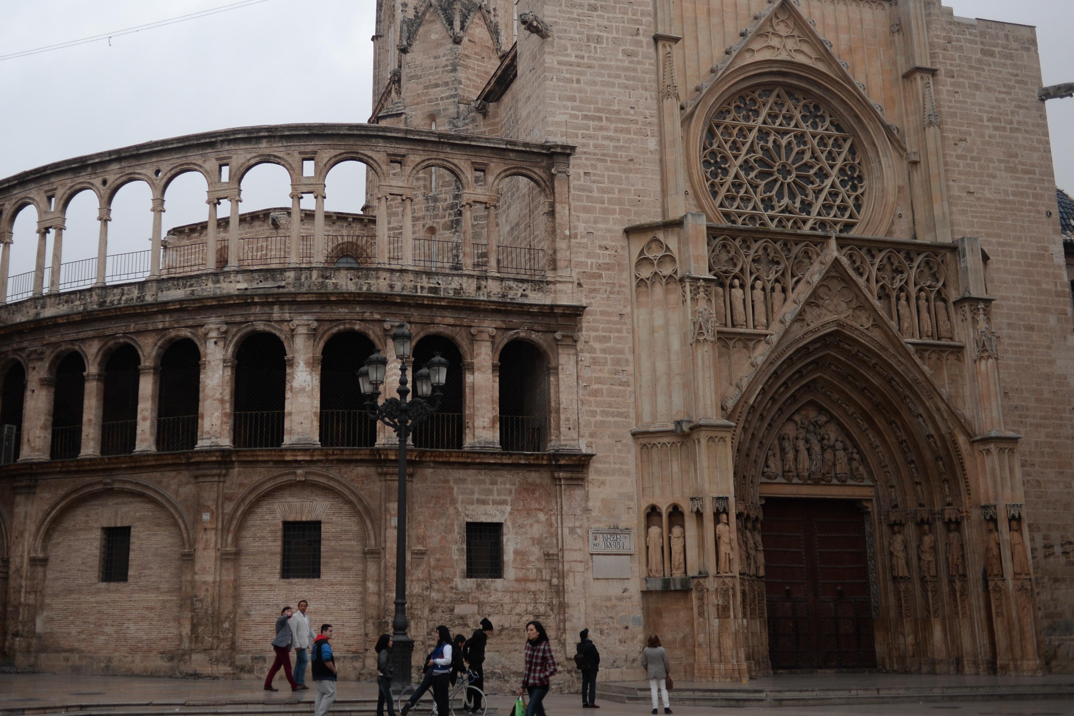 Valencia Cathedral seen from Plaza de la Virgen (Virgin). Valencia, Spain, Southwestern Europe. September 28, 2014.jpg