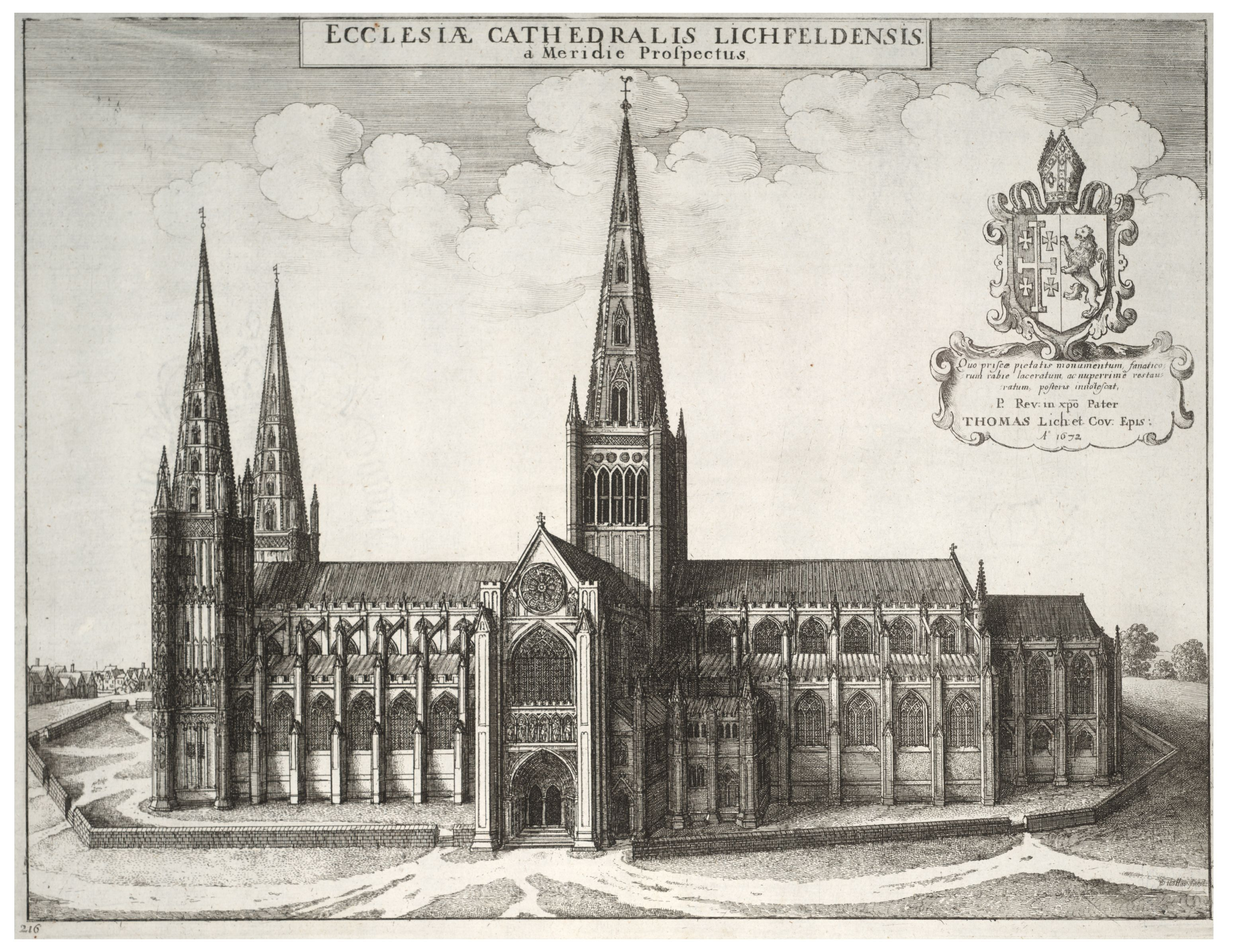 Lichfield Cathedral by Wenceslaus Hollar.