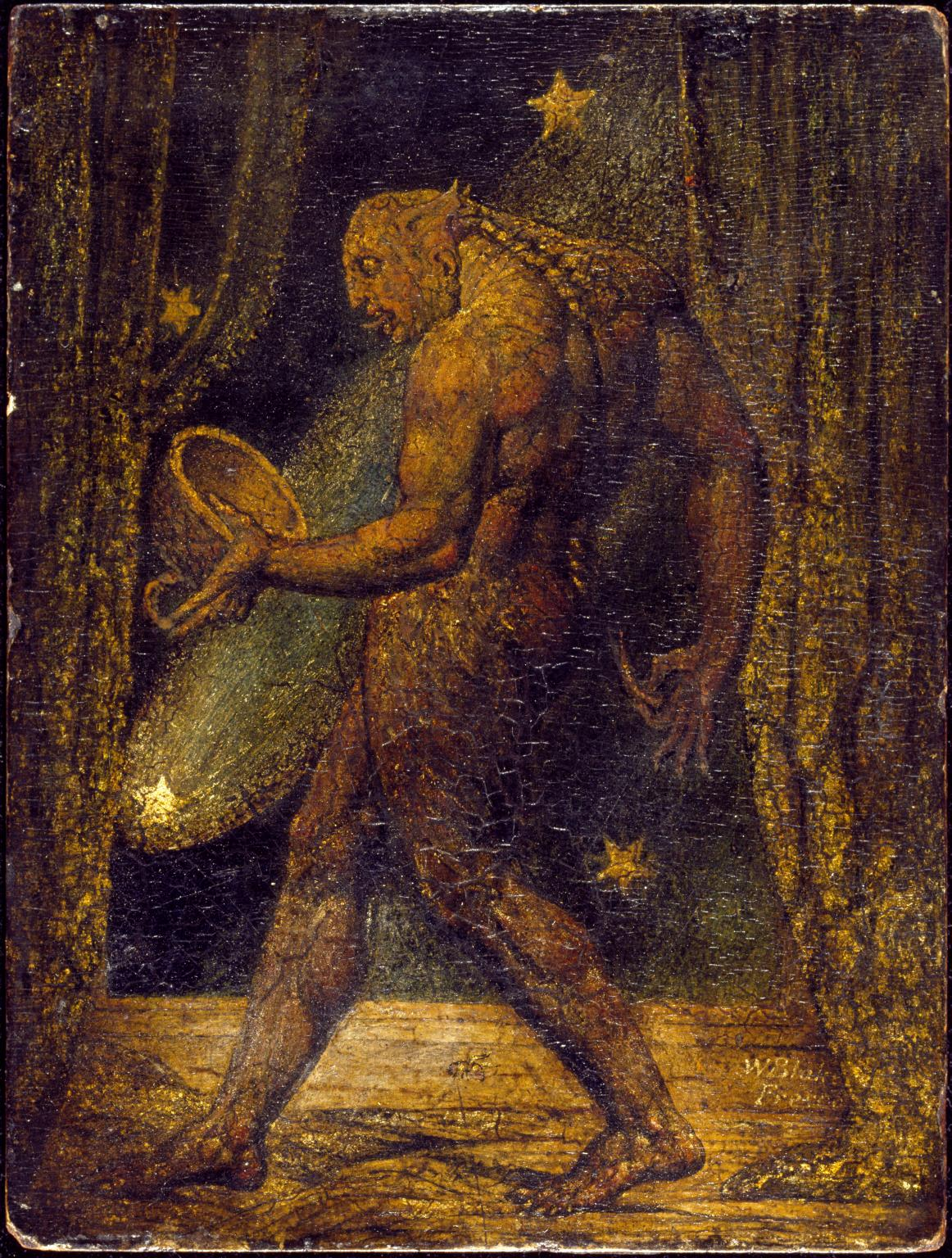 A painting of a monstrous scaly humanoid figure holding a bowl-like object, framed by curtains and stars.