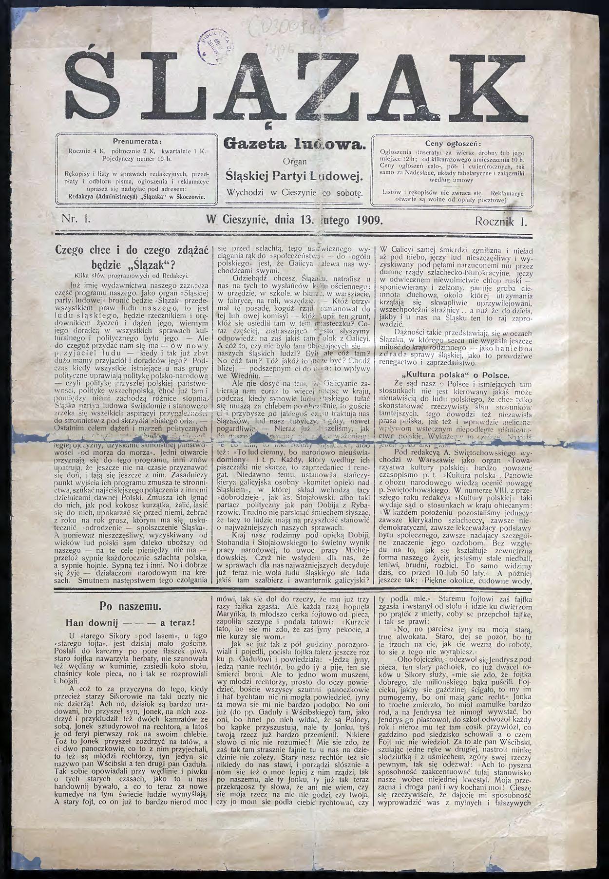 Fileślązak 13 02 1909jpg Wikimedia Commons