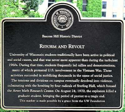 Historical marker near Sterling Hall commemorating fatal 1970 bombing 1554 sterlingmarker.jpg