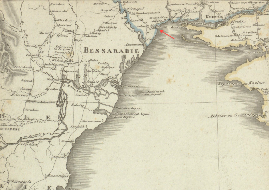 File1809 Odessa detail of map of Russian Empire by Depot Imperial