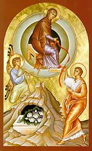 Icon depiction the giving of the girdle to St ...