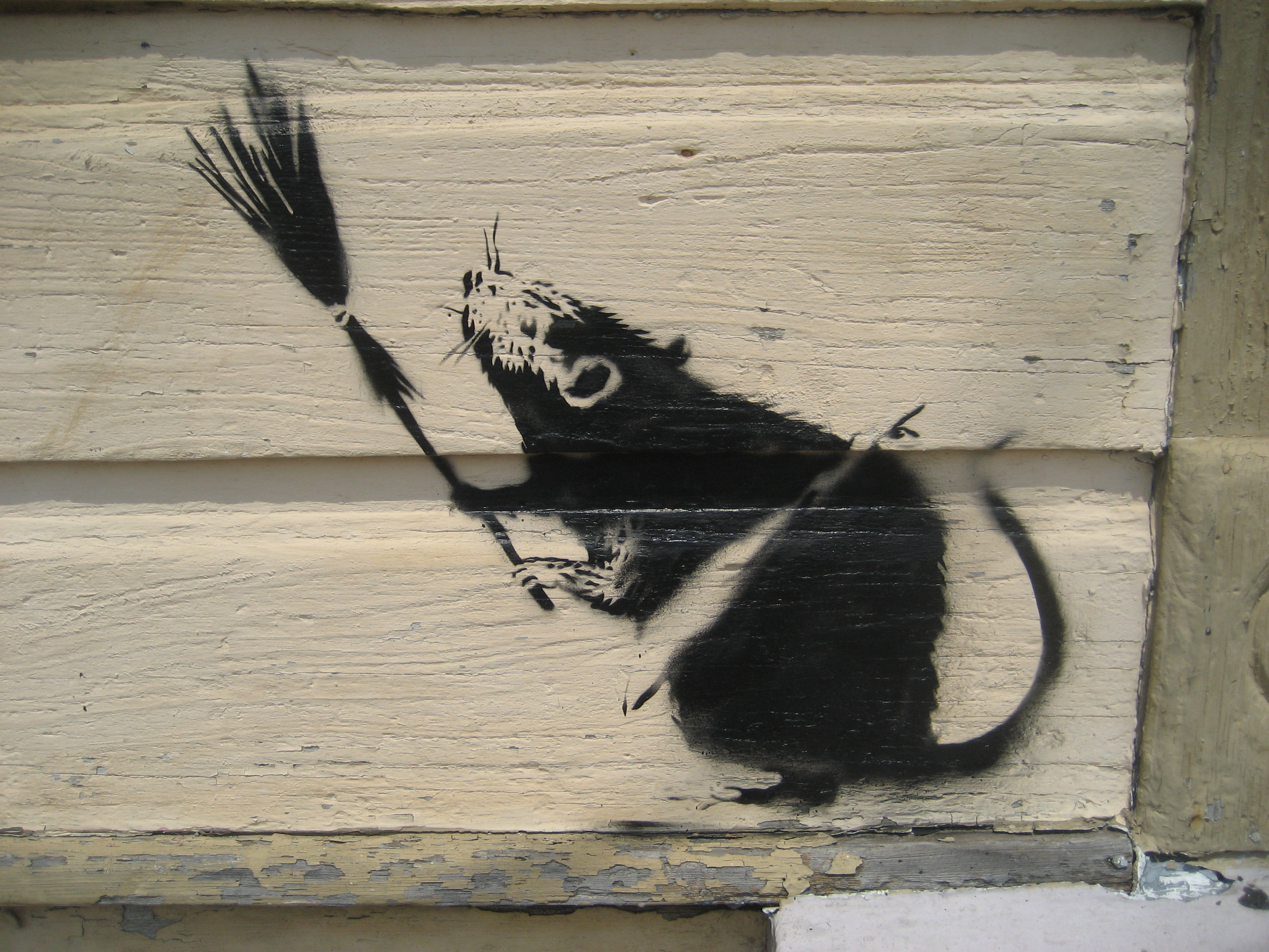 File banksy broom rat new wikimedia commons for Banksy mural painted over