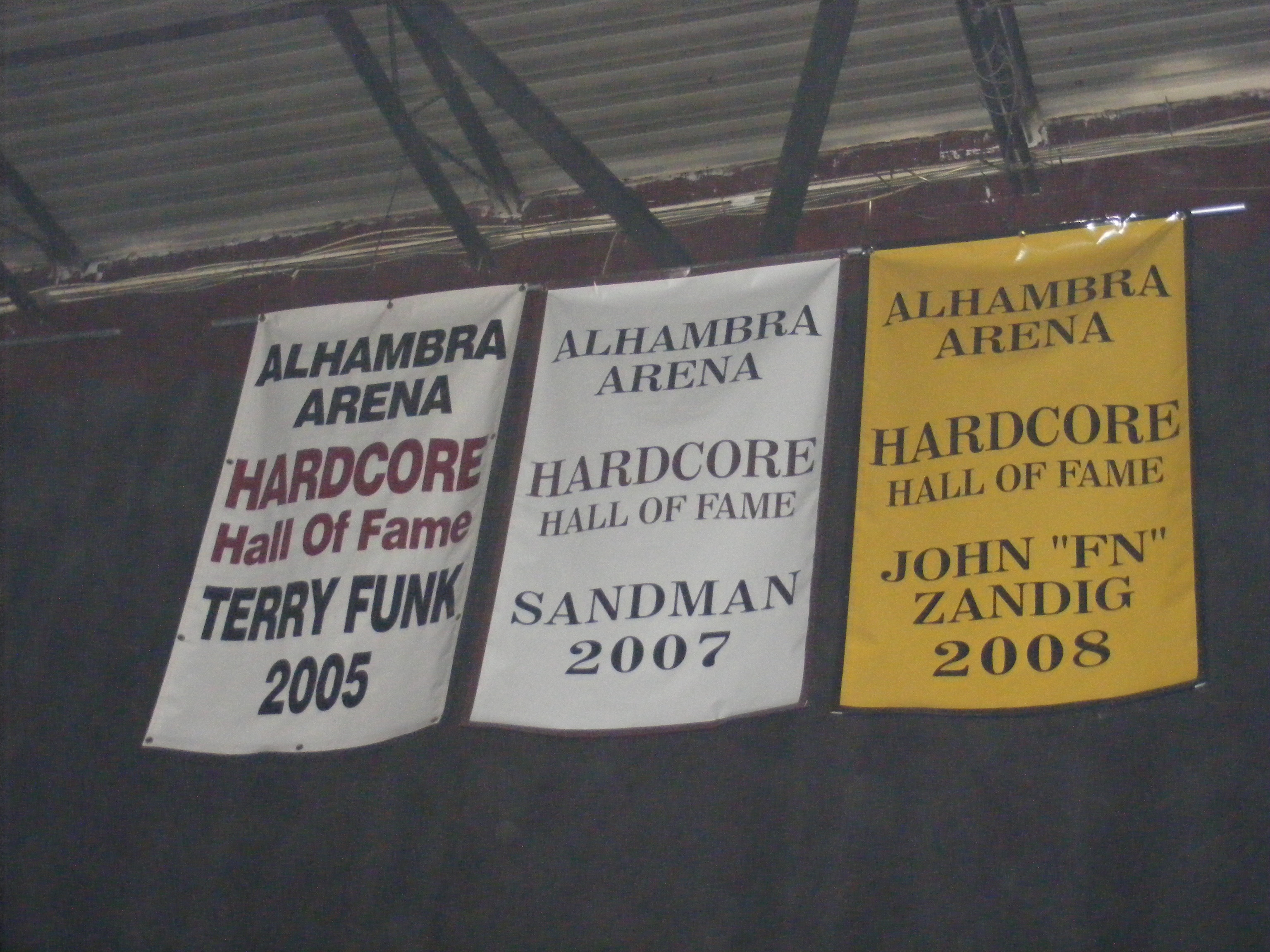 Description Banners for Terry Funk, Sandman, and John 'FN' Zandig at ...