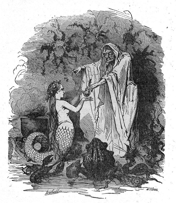 Wikipedia: Die kleine Meerjungfrau -   Illustration von Bertall (1856)