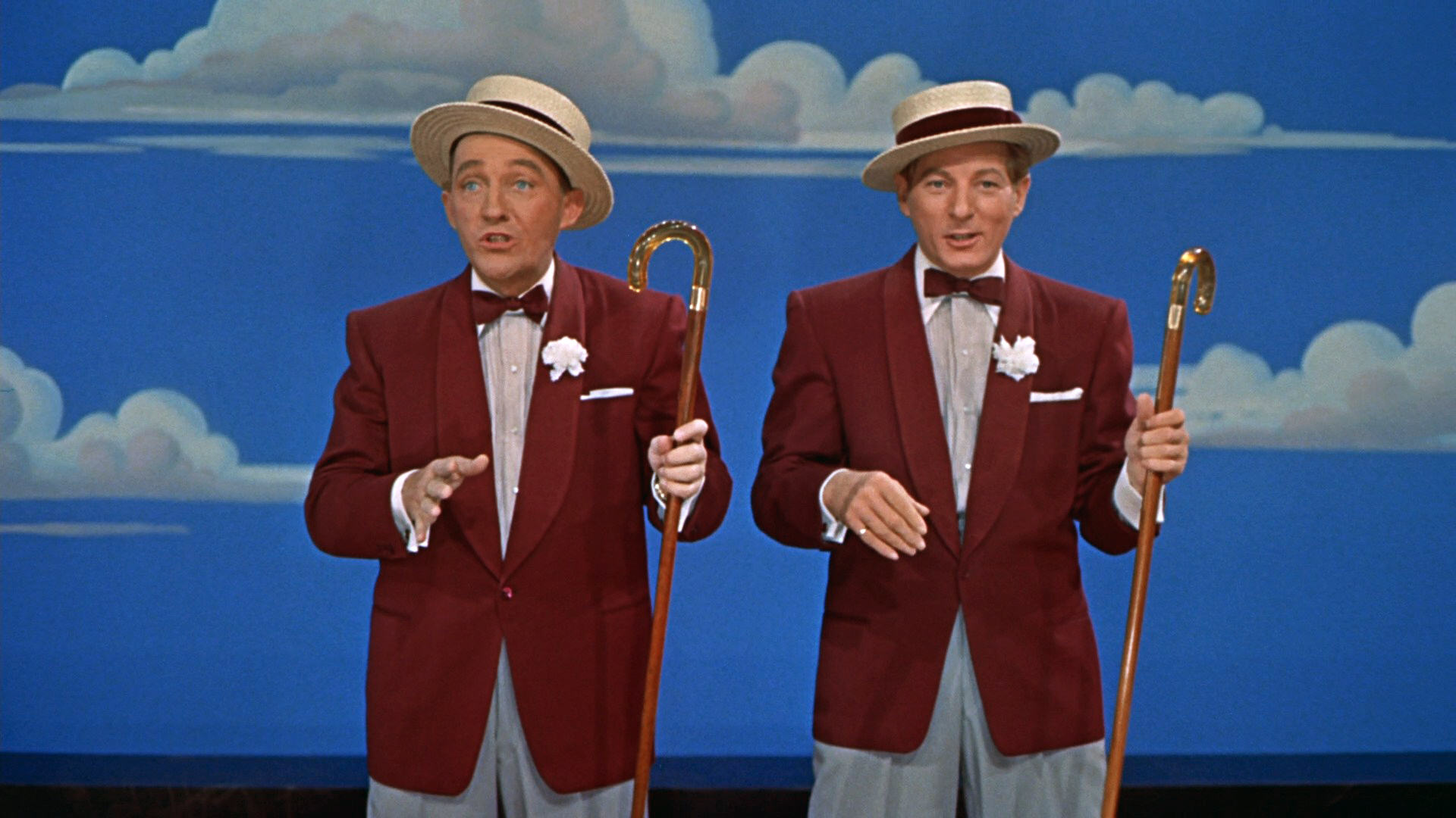 Cropped screenshot of Bing Crosby and Danny Ka...