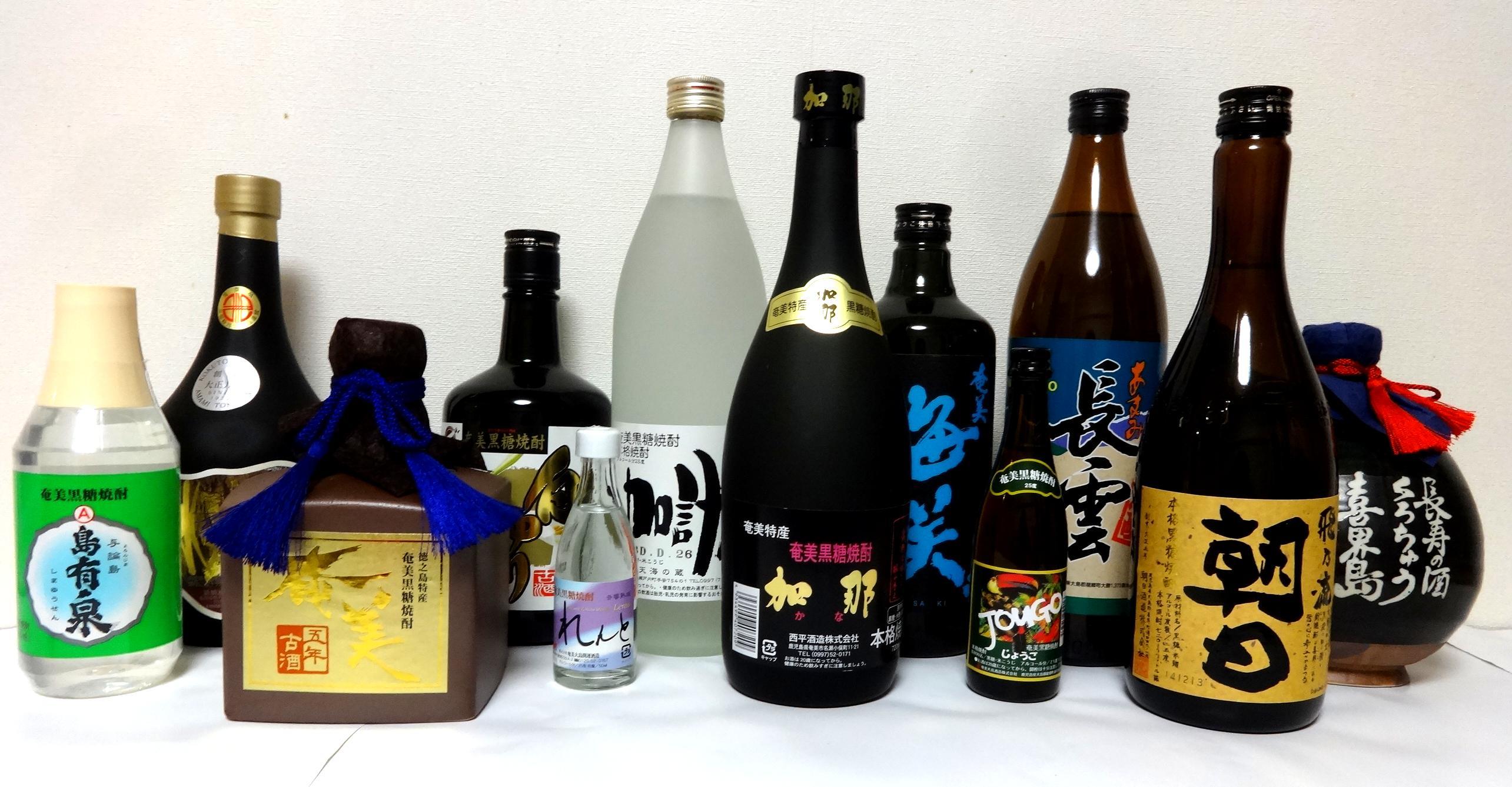 Bottled amami kokuto shochu