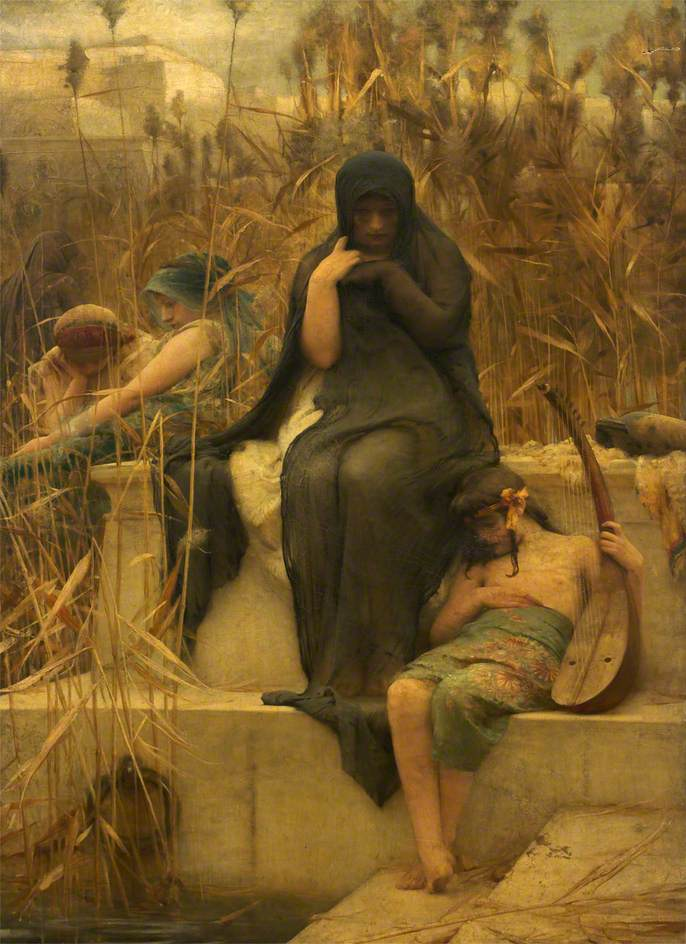 File:By the Waters of Babylon Arthur Hacker.jpg - Wikimedia Commons