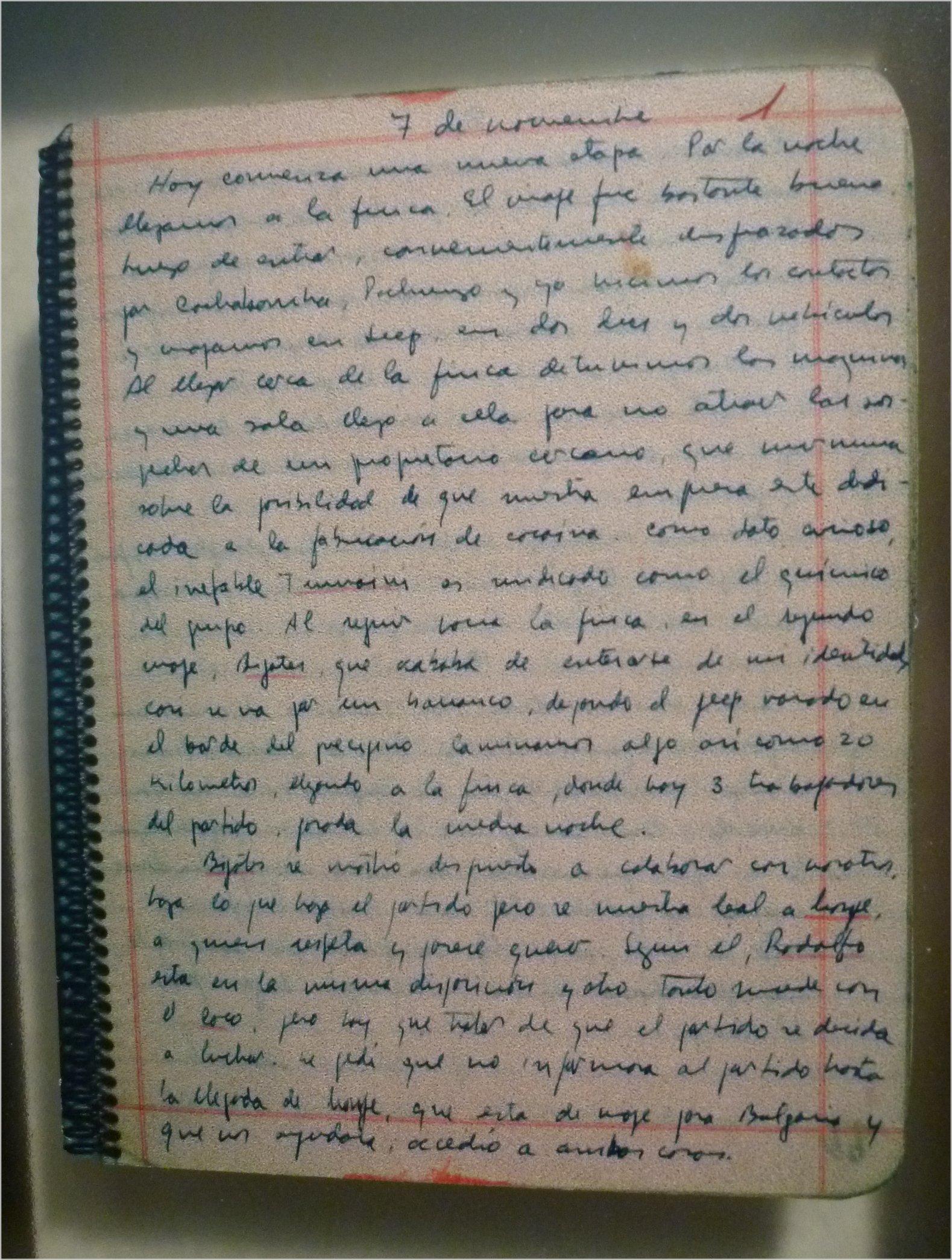 Diario del Che en Bolivia. Anotación de 7 de noviembre de 1966. (Museo Casa del Che Guevara, Alta Gracia, Córdoba, Argentina)