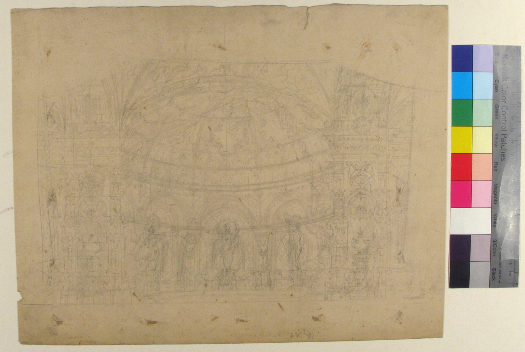 Set at the Opéra, Paris: Domed Interior (recto); Sketches for Dome and Doors (verso) Drawing; Drawings Date 1830-90 Medium Graphite Dimensions
