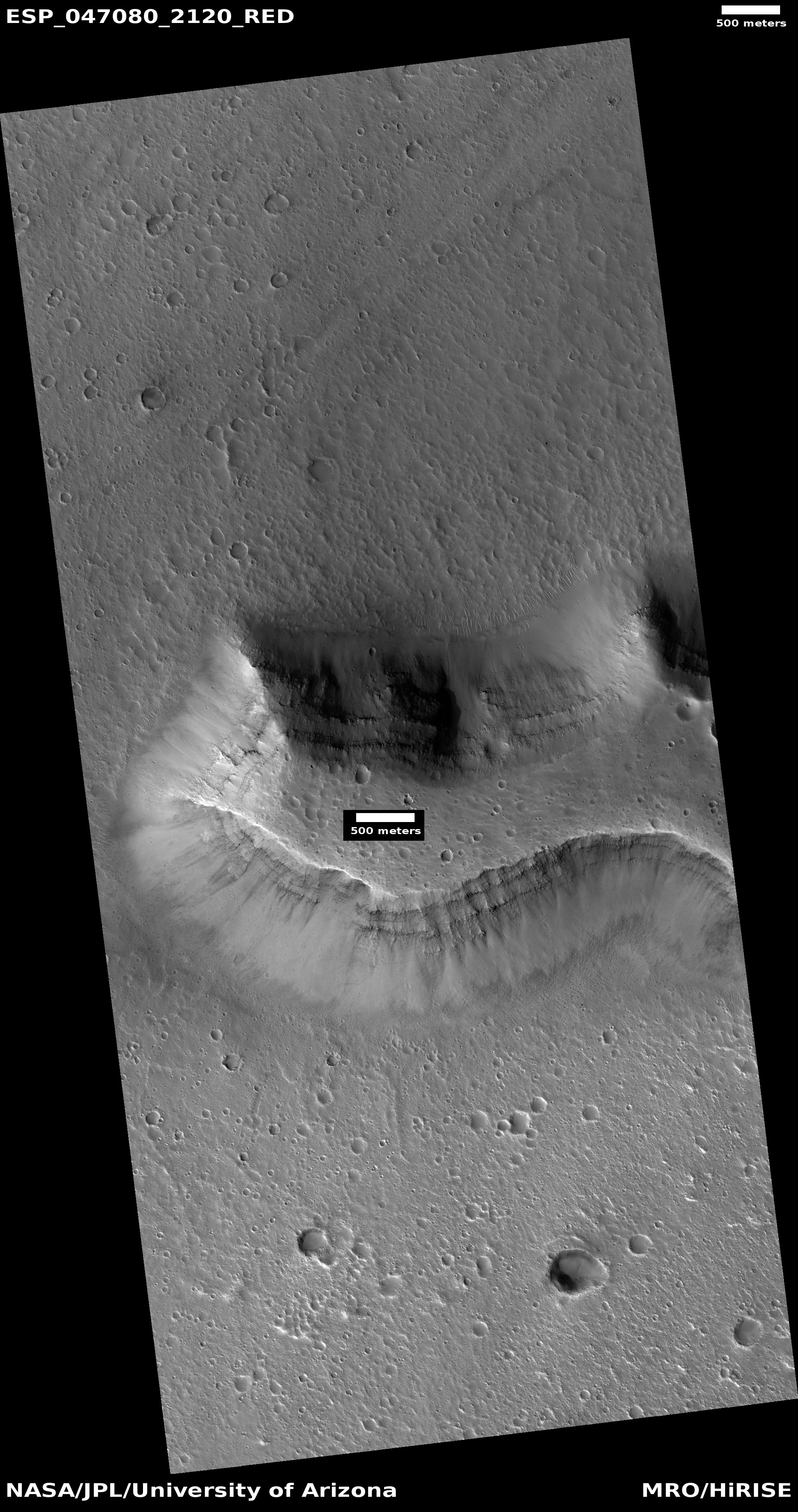 Layers in mesa, as seen by HiRISE under HiWish program