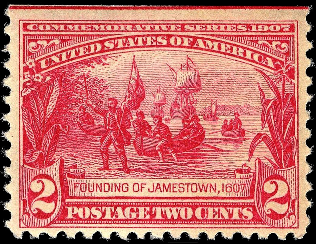 Founding of Jamestown stamp 2c 1907 issue.JPG