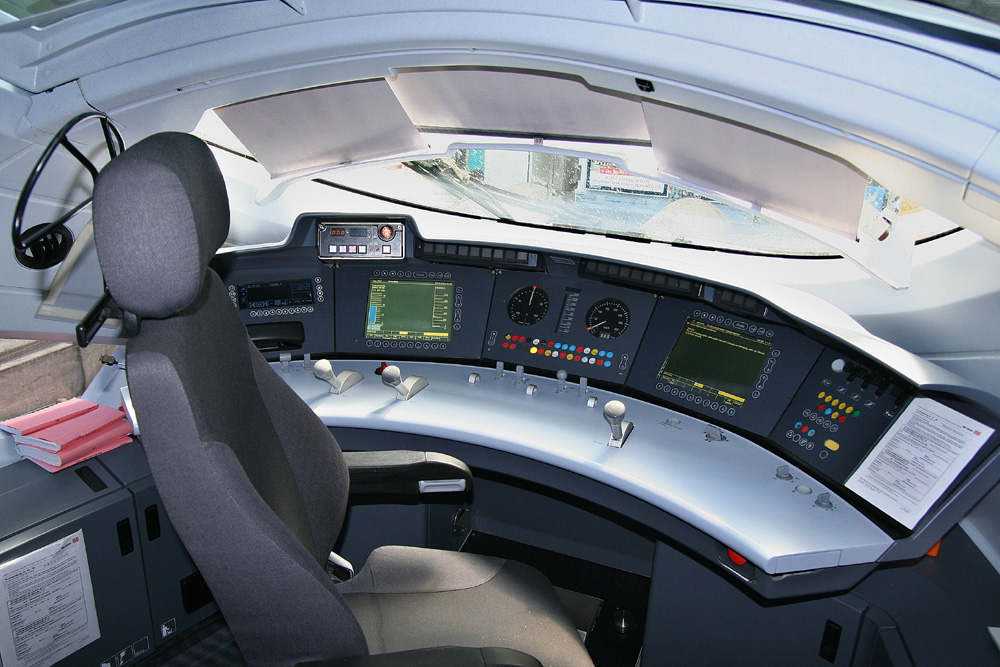 Inside the cab of an ICE 3