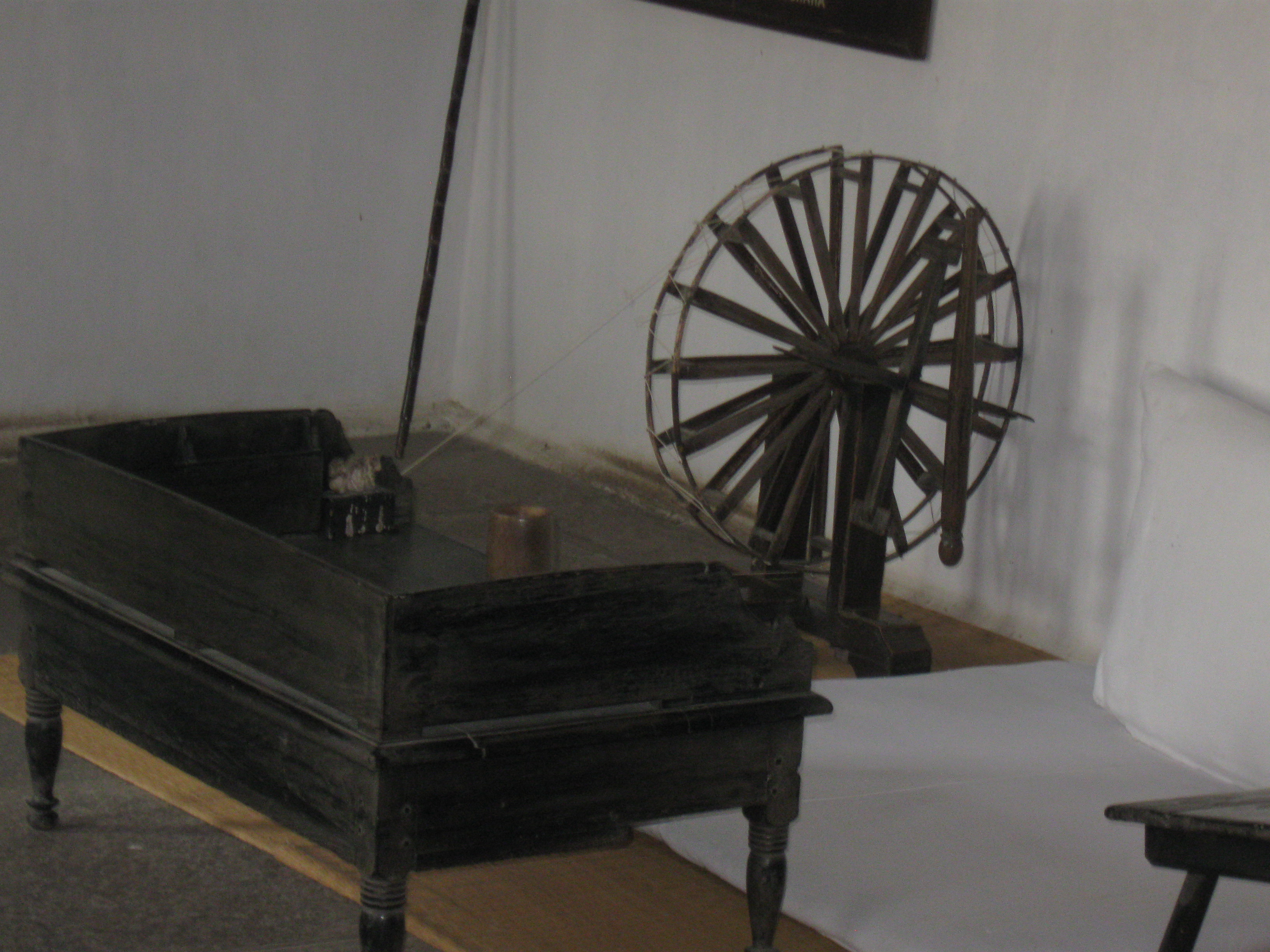 Gandhiji's Charkha and table at Sabarmati Ashram, Ahmedabad