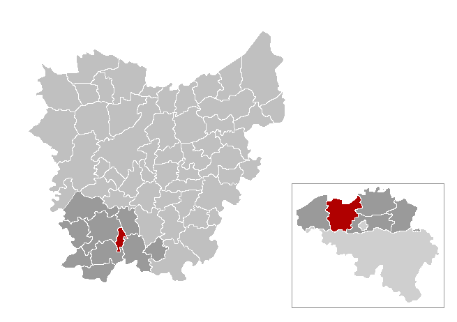 Location of Horebeke in East Flanders