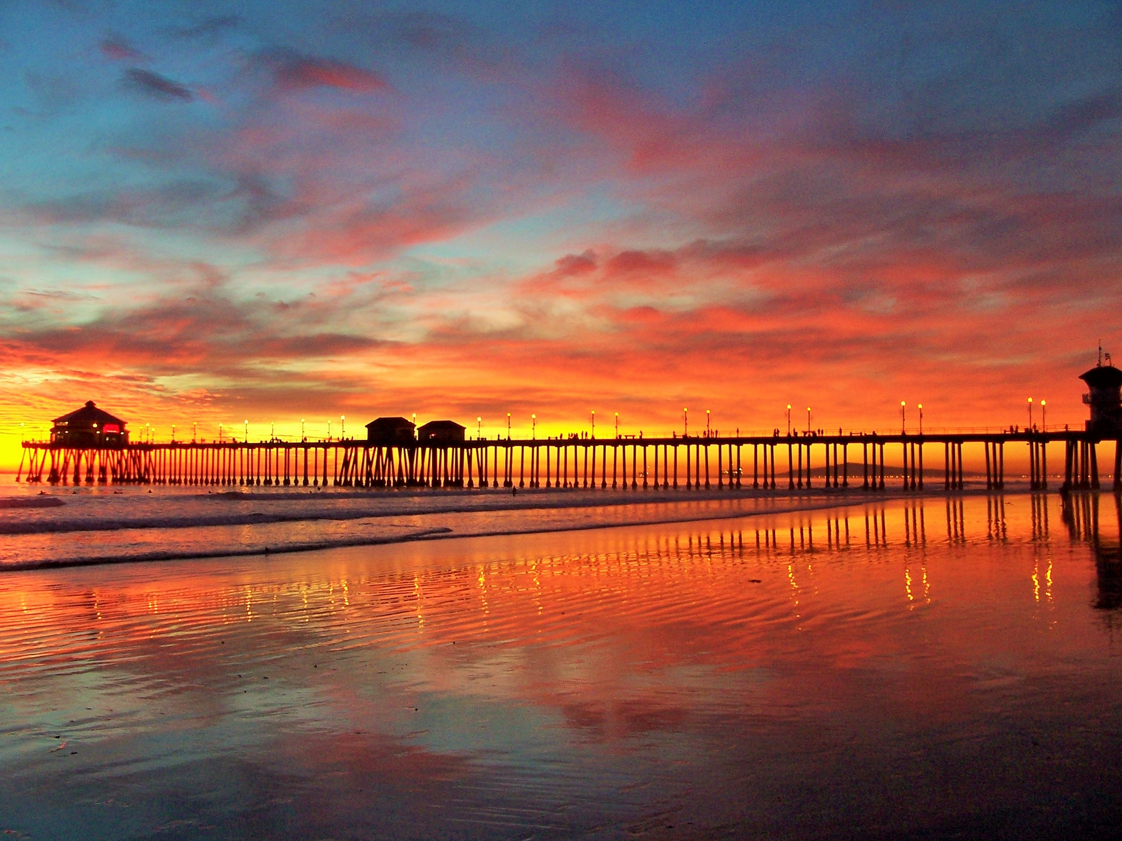 File Huntington Beach Ca Pier Winter Sunset Jpg