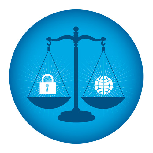 A balance with lock representing privacy on one side and a stylized globe representing the Web on the other.