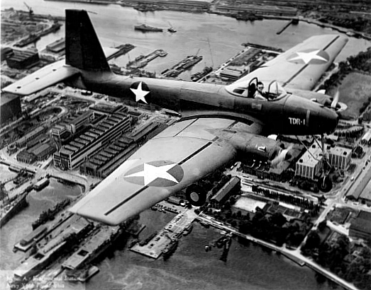 Interstate TDR-1 in flight over Philadelphia Navy Yard 1943.jpg
