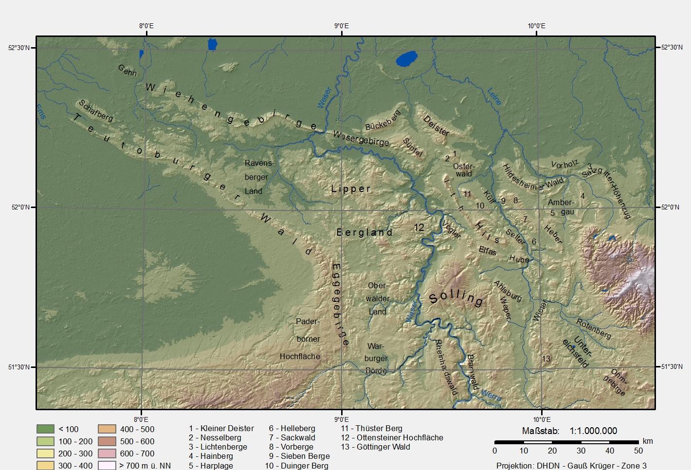 Varusschlacht Karte.Teutoburger Wald Wikipedia