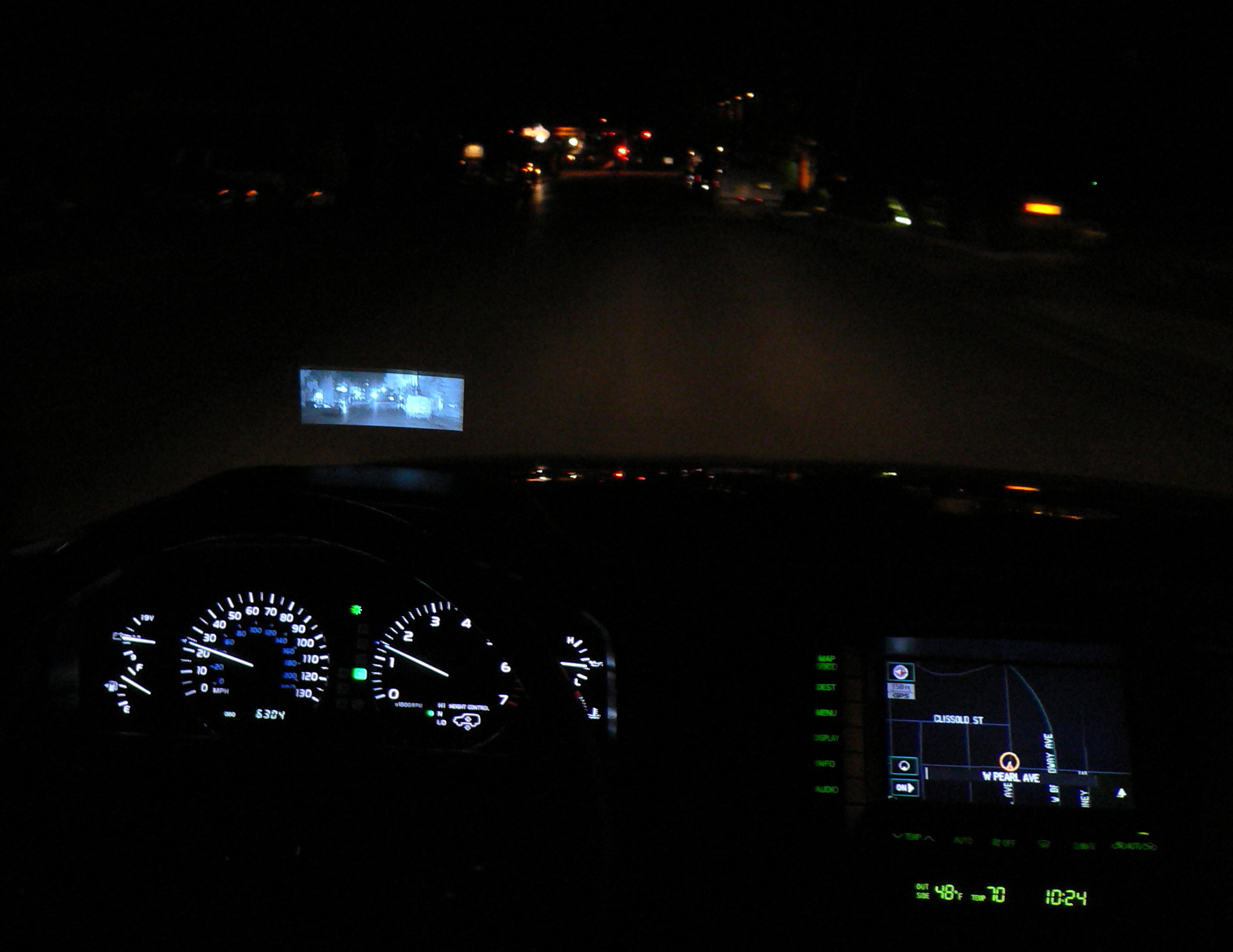 HUD Display used for improving night visibility