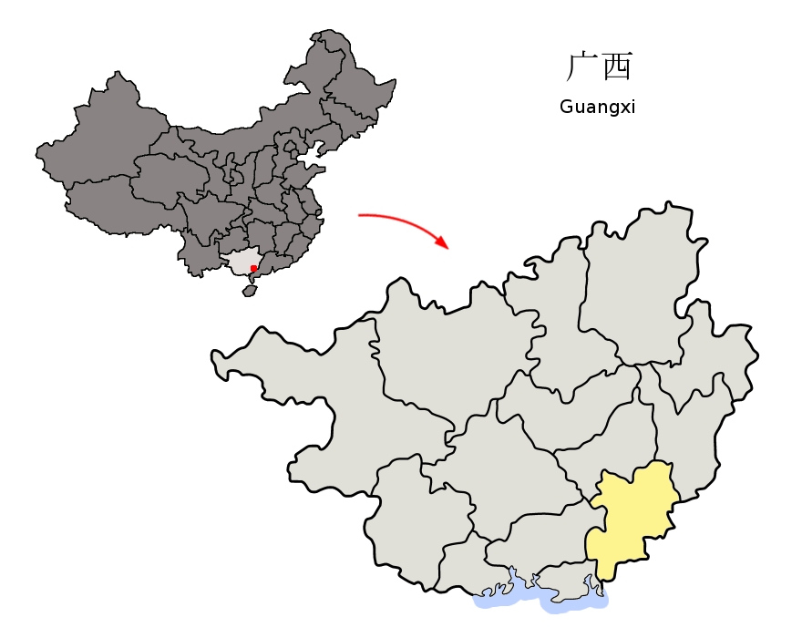 Fangchenggang China  City new picture : Ver só o mapa versão para imprimir