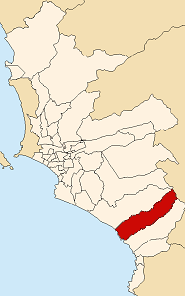 Location of Punta Hermosa in the Lima province