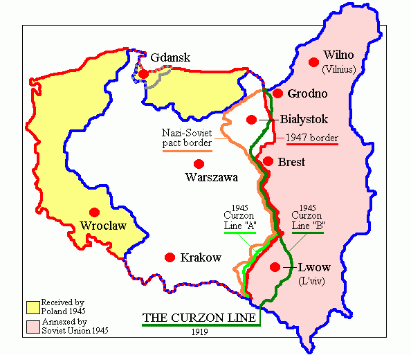 The Curzon Line and territorial changes of Poland, 1939 to 1945. The pink and yellow areas represent the pre-war Polish territory (Kresy) and pre-war German territory (Recovered Territories), respectively. Map of Poland (1945).png