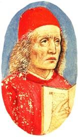Marsilio Ficino in der Handschrift Florenz, Biblioteca Medicea Laurenziana, Plut. 82.15, fol. 1r (15. Jahrhundert) (Quelle: Wikimedia)