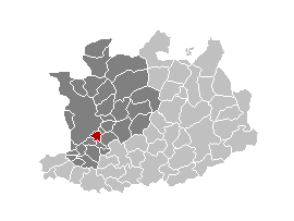 Location of Mortsel in the province of Antwerp