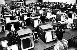 English: NYIT pioneered computers in the class...