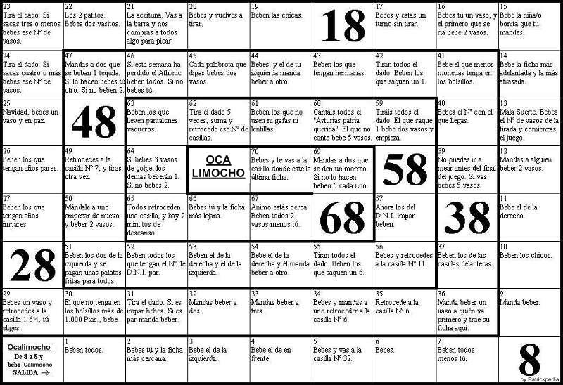 Ocalimocho wikipedia for Gioco dell oca alcolico da stampare