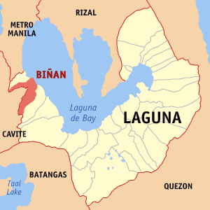 Map of Laguna showing the location of Biñan