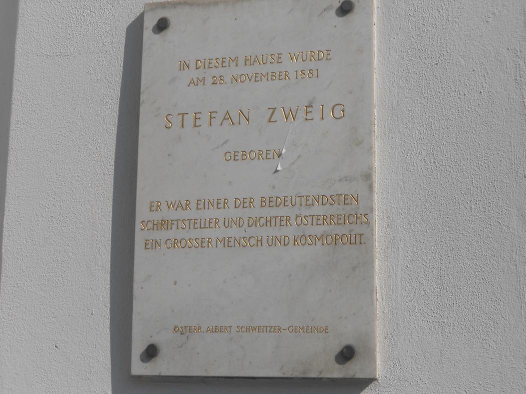 Plaque commémorant la naissance de Stefan Zweig le 28 Novembre 1881 - 14 Schottenring à Wien..JPG