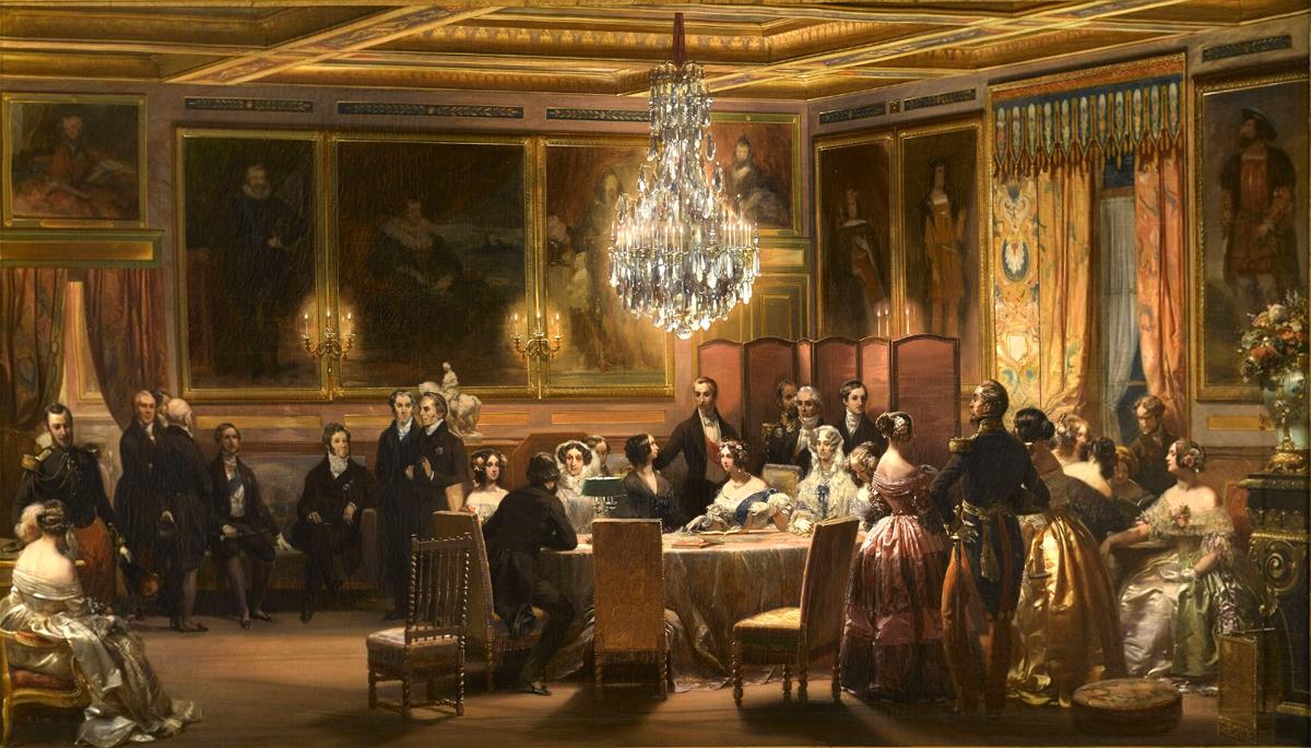 Прием в Королевском салоне Шато д'Эу в честь королевы Виктории и принца Альберта, 3 сентября 1843.jpg