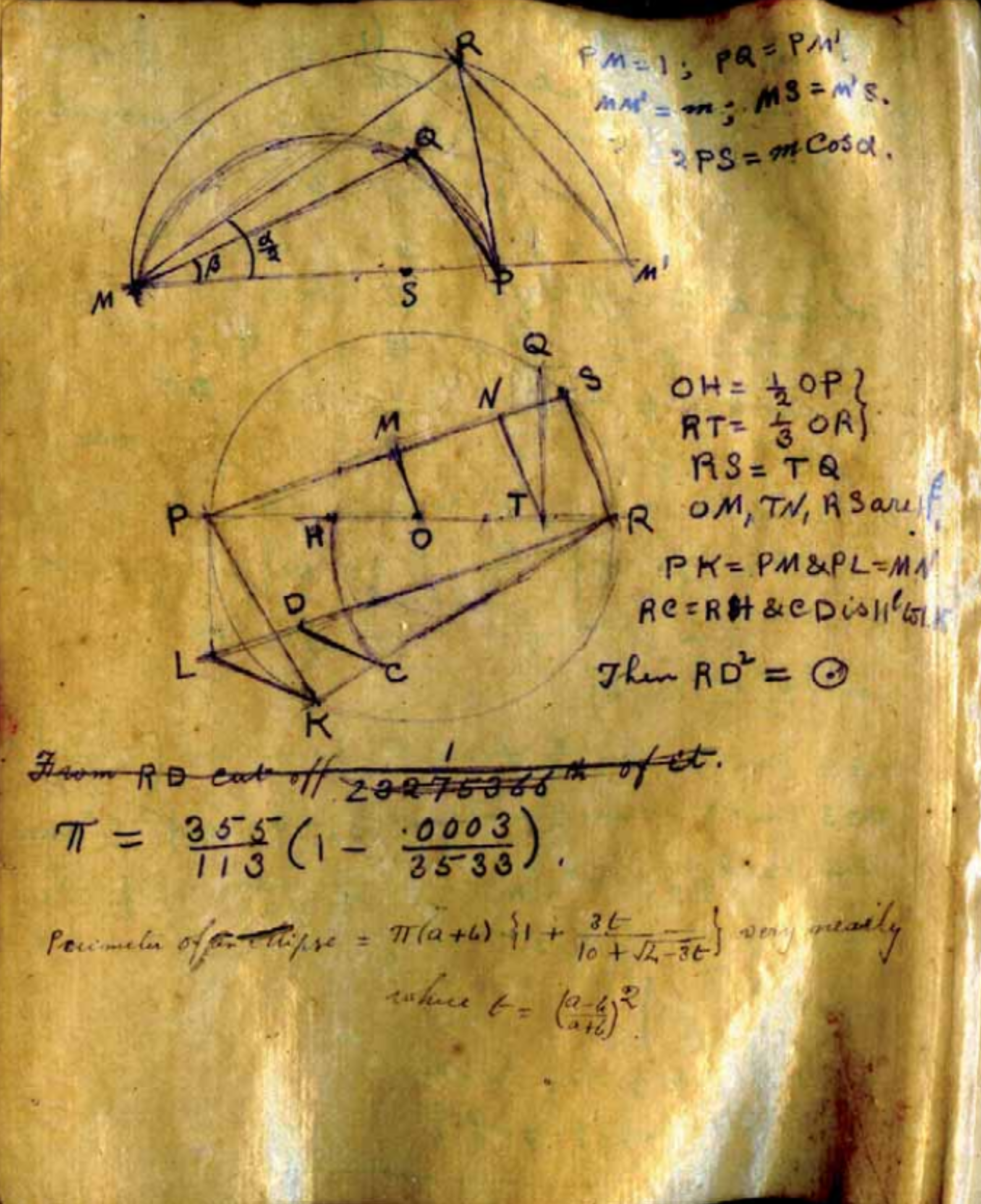 Squaring the circle-Ramanujan-1913.png