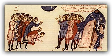 The Bulgarians pray to God for a famine to go away The leader of the Bulgarians along with his people praying for the famine to go away the Chronicle of John Skylitzes.jpg