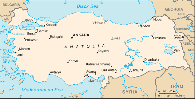 FileTurkeyCIA WFB Mappng Wikimedia Commons - Map of turkey