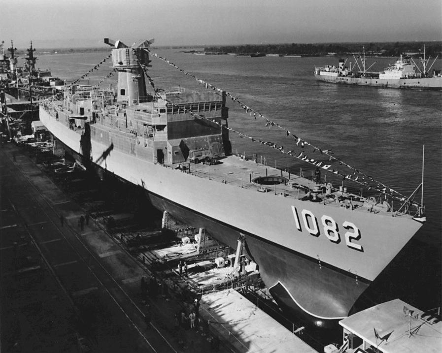 File:USS Elmer Montgomery (DE-1082) at Avondale Shipyard in 1970.