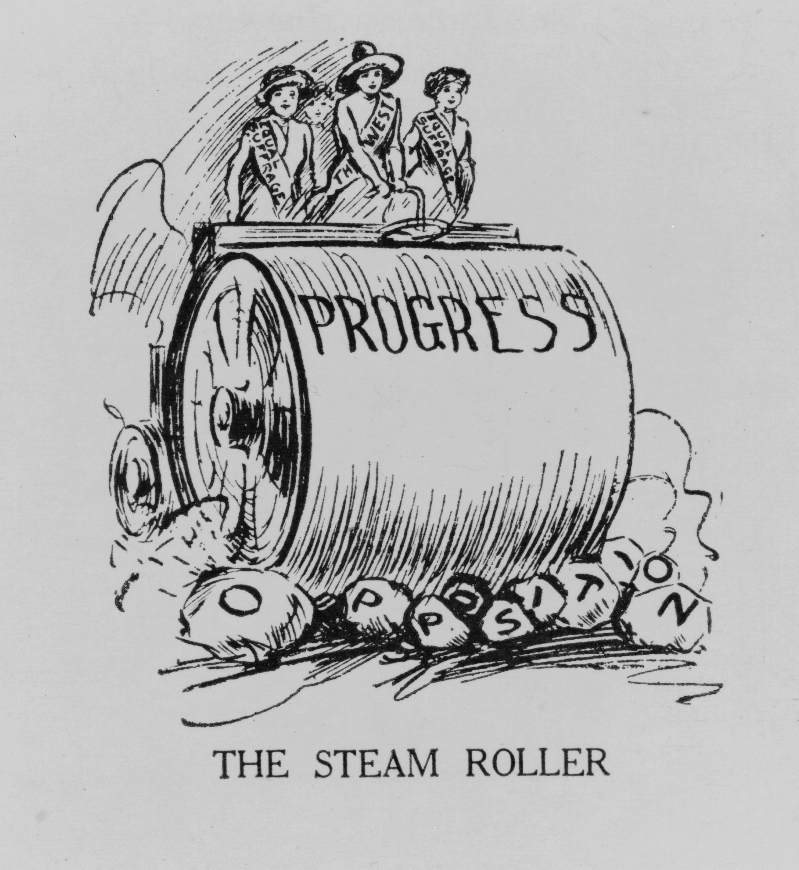 "Political cartoon about suffrage in the United States. Four women supporting suffrage on a steamroller crushing rocks ""opposition"" (March 1917)."