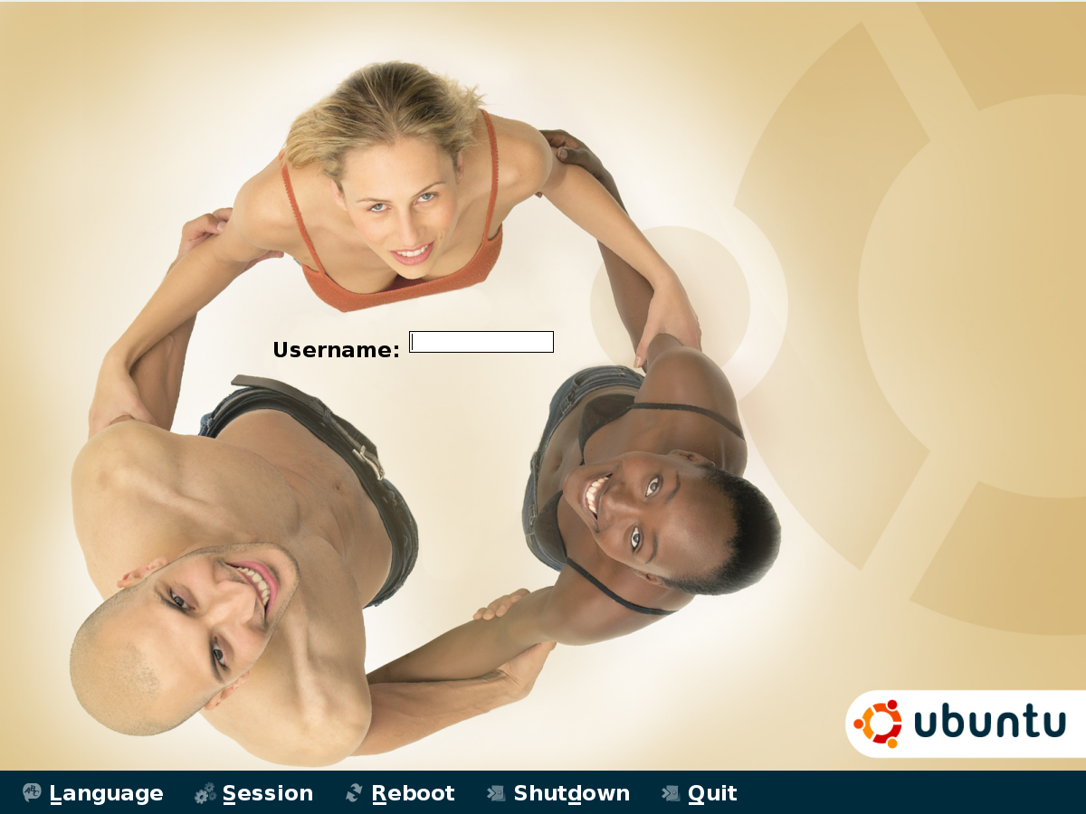 شاشة الولوج إلى النظام في إحدى إصدارات أوبونتو يبدو فيها حقل اسم الميتخدم في وسط صورة ثلاثة أشخاص يشكلون حلقة بأيديهم