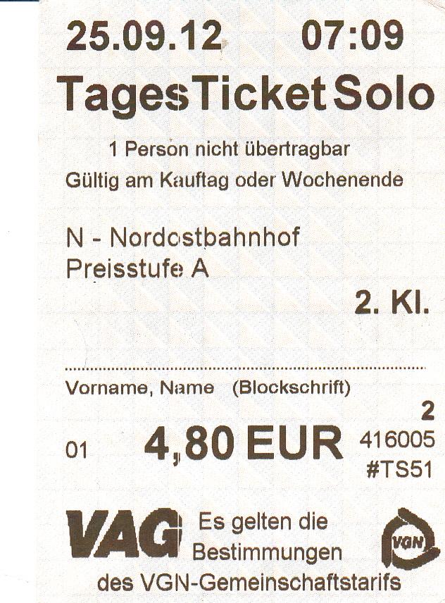 Vgn Tagesticket Nürnberg
