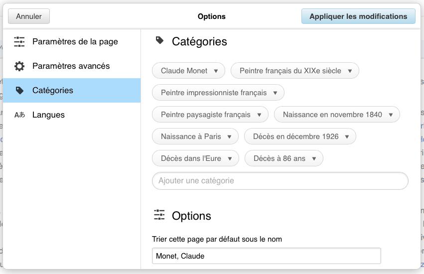 Capture écran de l'interface de modification des catégories dans l'ÉditeurVisuel de Wikipédia