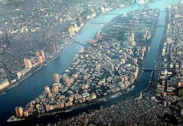 Aerial view looking south, with the Zamalek and Gezira districts on Gezira Island, surrounded by the Nile. Zamalek Arial.jpg