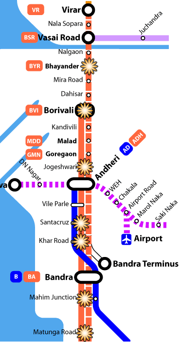 Map showing the 'Western line' and blast locations. 11 July 2006 Mumbai bombings - map showing locations.png